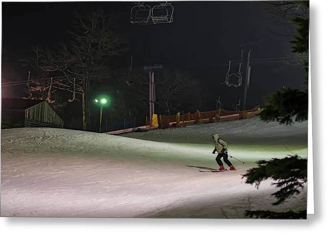 Night Skiing Greeting Card