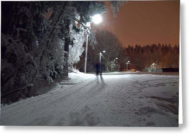 Greeting Card featuring the photograph Night Skiing by Sami Tiainen