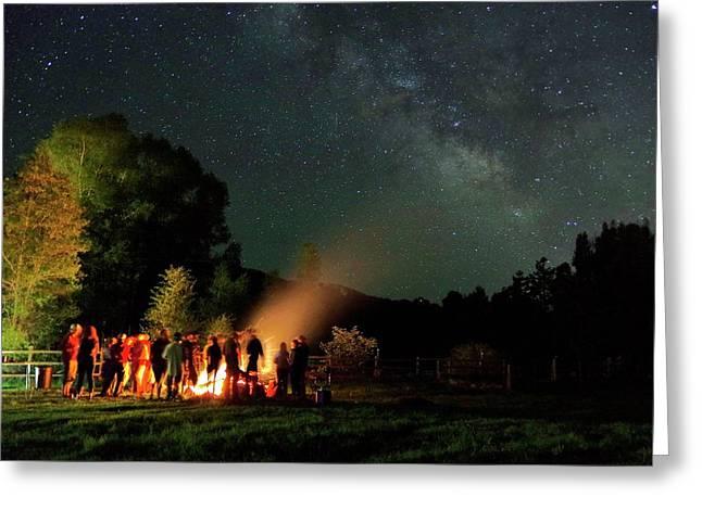 Night Sky Fire Greeting Card