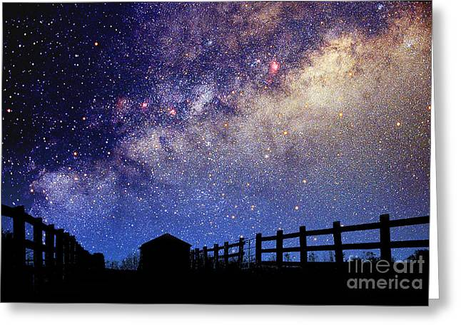 Night Sky Greeting Card by Larry Landolfi and Photo Researchers