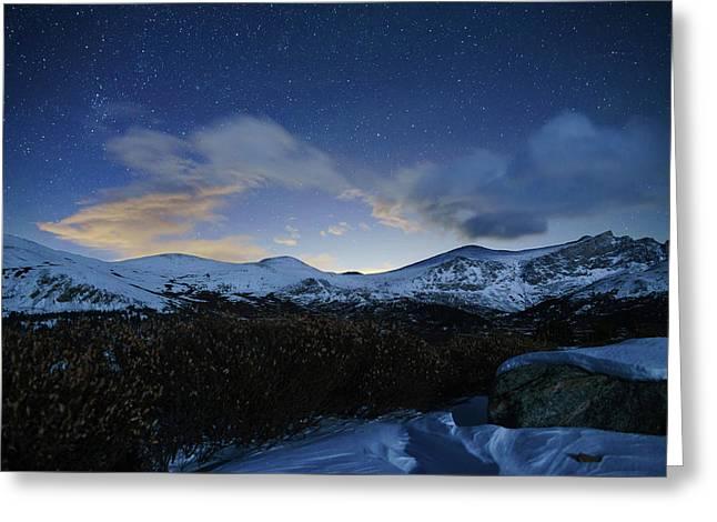 Night Sky Over Bierstadt Mountain Greeting Card by Daniel Lowe