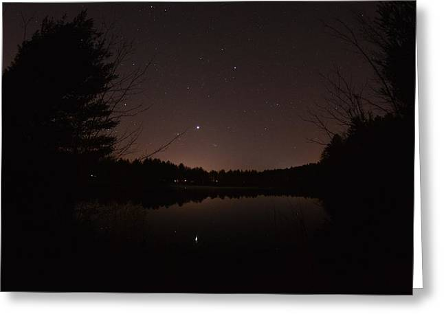 Night Sky Over The Pond Greeting Card