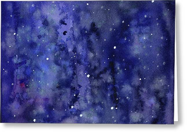 Night Sky Watercolor Galaxy Stars Greeting Card