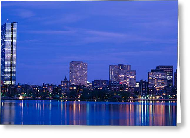 Night, Skyline, Back Bay, Boston Greeting Card by Panoramic Images