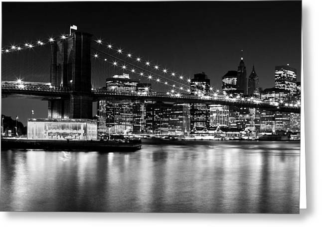 Night Skyline Manhattan Brooklyn Bridge Greeting Card by Melanie Viola