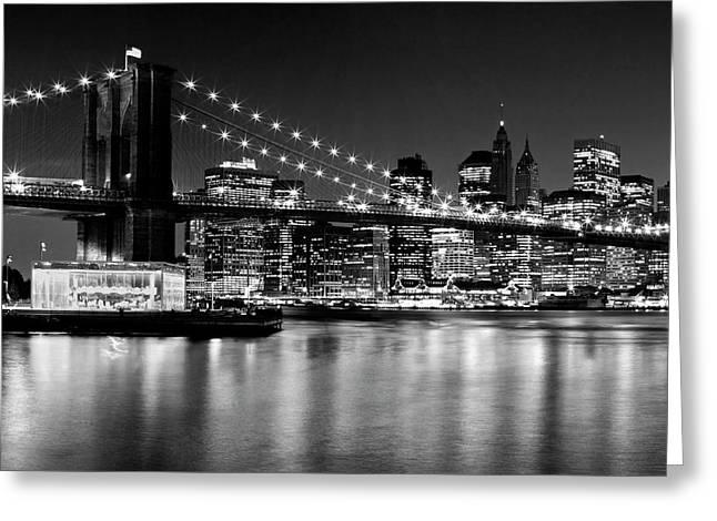 Night Skyline Manhattan Brooklyn Bridge - Monochrome Greeting Card