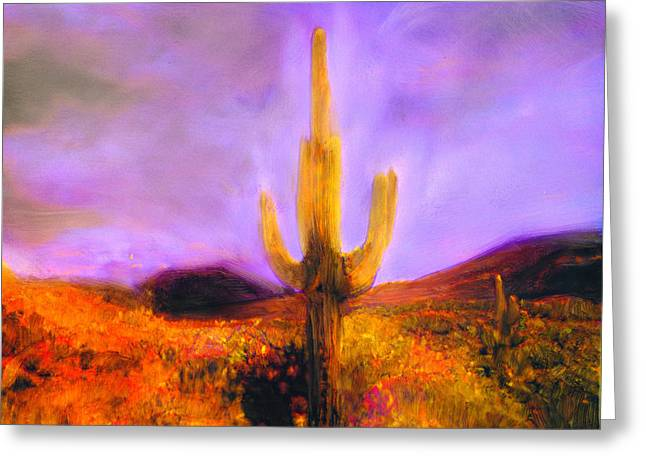 Greeting Card featuring the painting Night Star by FeatherStone Studio Julie A Miller