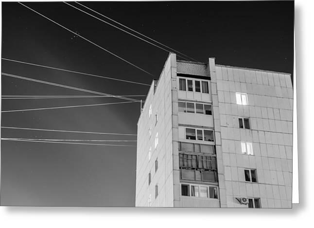 Night Stars Soviet Style Building Greeting Card by John Williams