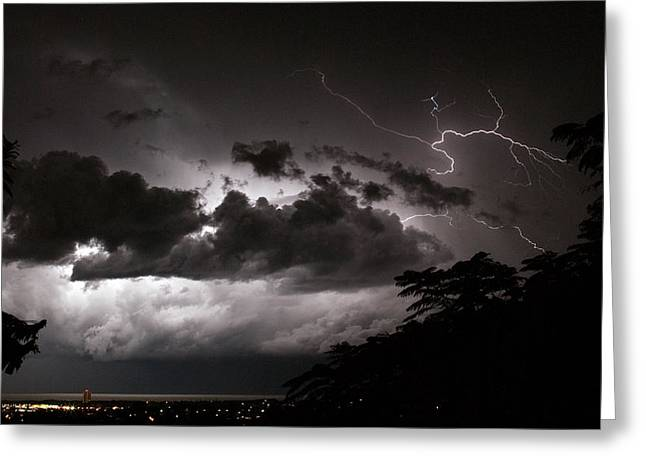 Greeting Card featuring the photograph Night Storm 1 by Odille Esmonde-Morgan