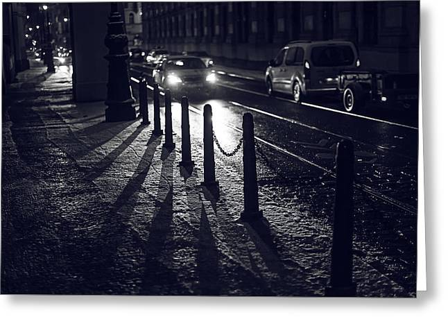 Greeting Card featuring the photograph Night Street Of Prague by Jenny Rainbow