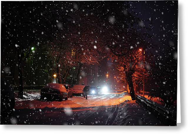 Night Street. Snowy Days In Moscow Greeting Card by Jenny Rainbow