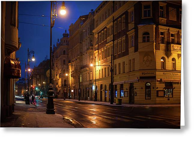 Night Streets Of Prague Greeting Card by Jenny Rainbow