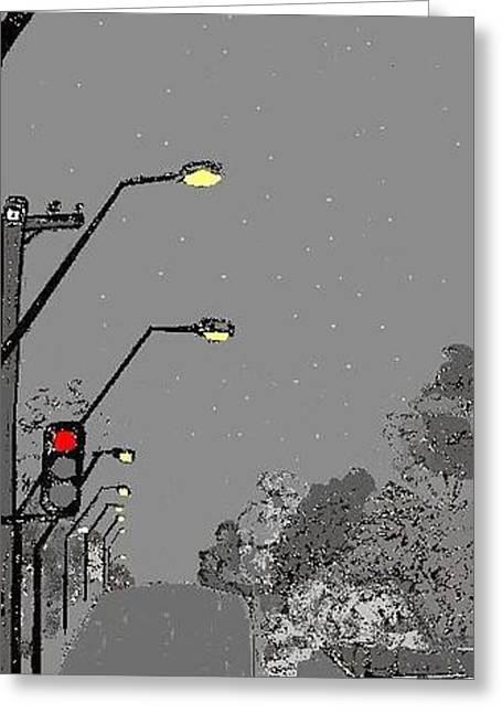 Night Streetscape Greeting Card by Bethwyn Mills