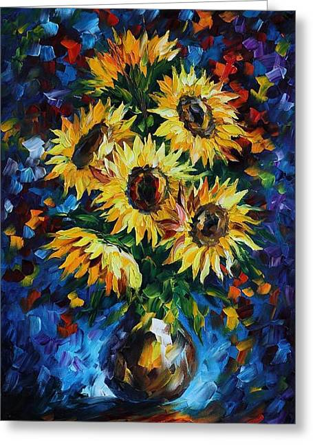 Night Sunflowers Greeting Card