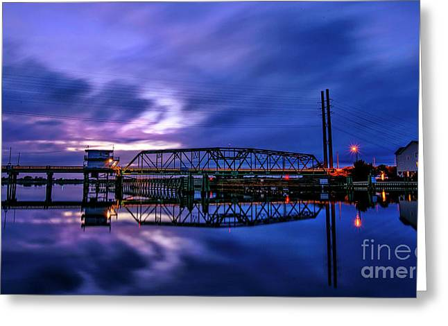Greeting Card featuring the photograph Night Swing Bridge by DJA Images