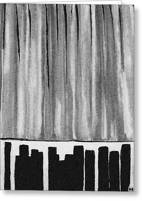 Night Time Downtown Greeting Card
