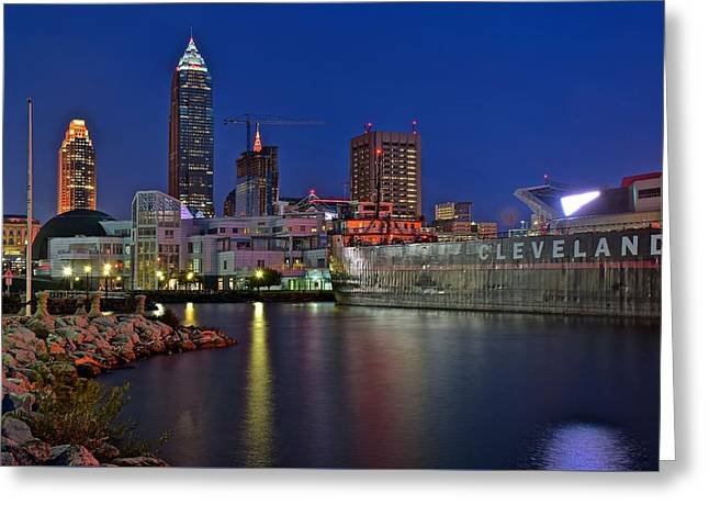 Night Time On Clevelands Lakefront Greeting Card by Frozen in Time Fine Art Photography