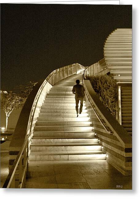 Night Time Stairway Greeting Card by Ben and Raisa Gertsberg