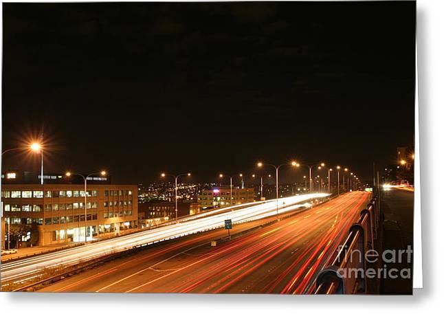Night Time Traffic Greeting Card by Robert Torkomian