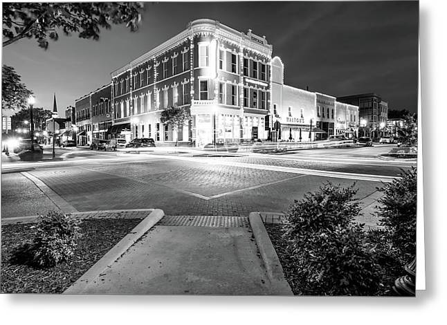 Night Traffic - Downtown Bentonville Arkansas - Black And White Greeting Card by Gregory Ballos