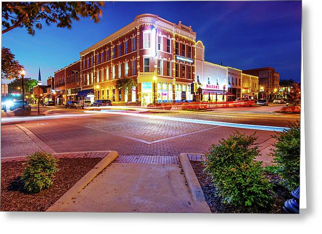 Night Traffic - Downtown Bentonville Arkansas Greeting Card by Gregory Ballos