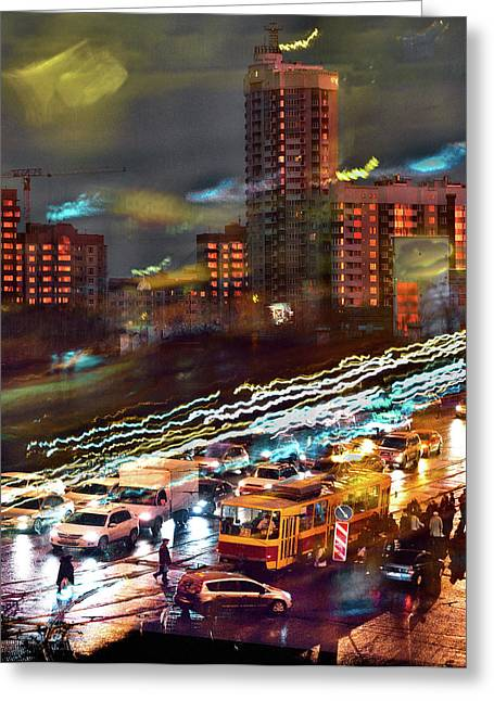 Night Traffic Greeting Card by Vladimir Kholostykh
