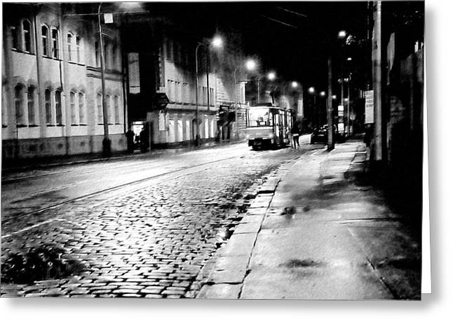 Night Tram In Prague. Black N White Greeting Card