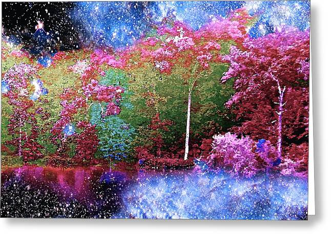 Night Trees Starry Lake Greeting Card by Saundra Myles