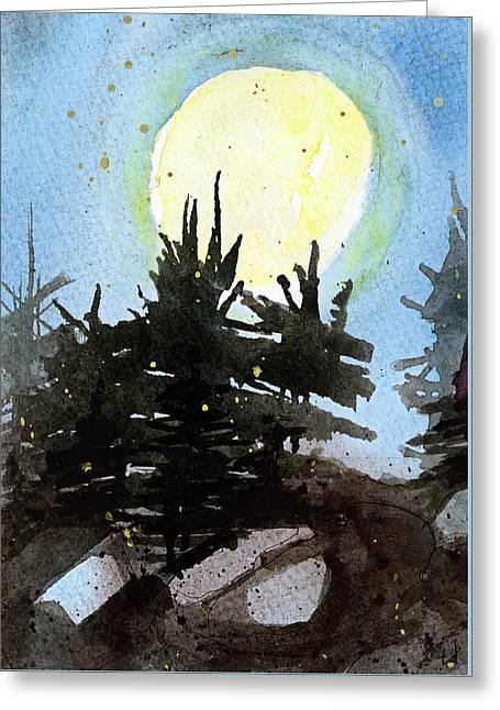Night Trees Greeting Card