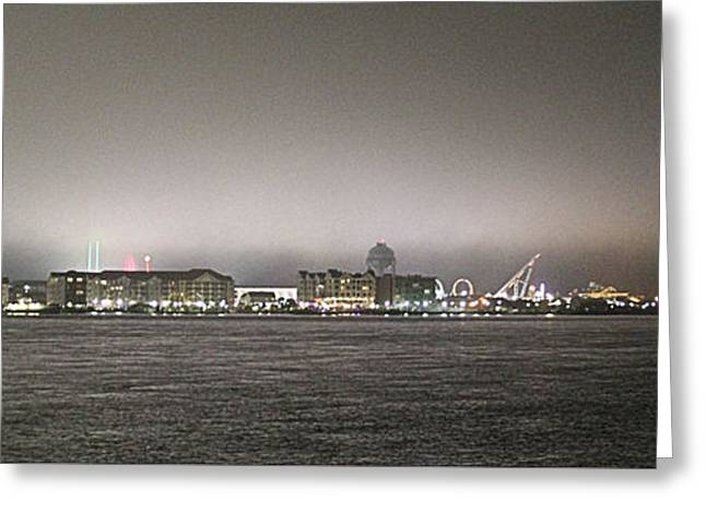 Night View Ocean City Downtown Skyline Greeting Card
