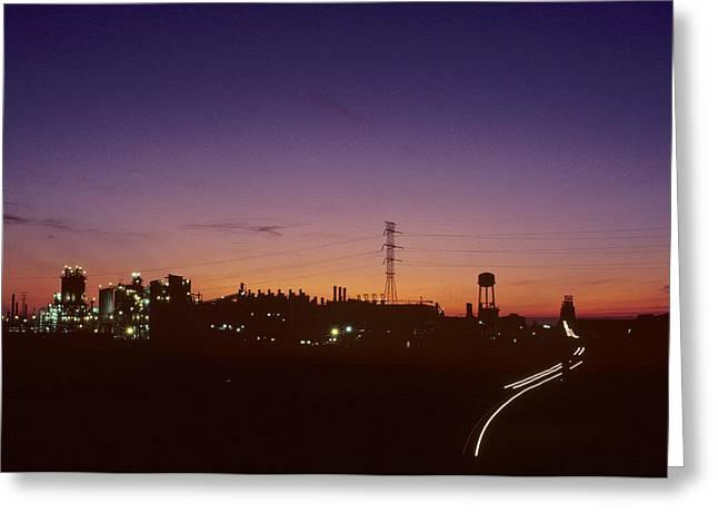 Night View Of An Industrial Plant Greeting Card by Kenneth Garrett
