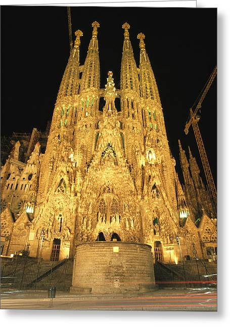 Night View Of Antoni Gaudis La Sagrada Greeting Card