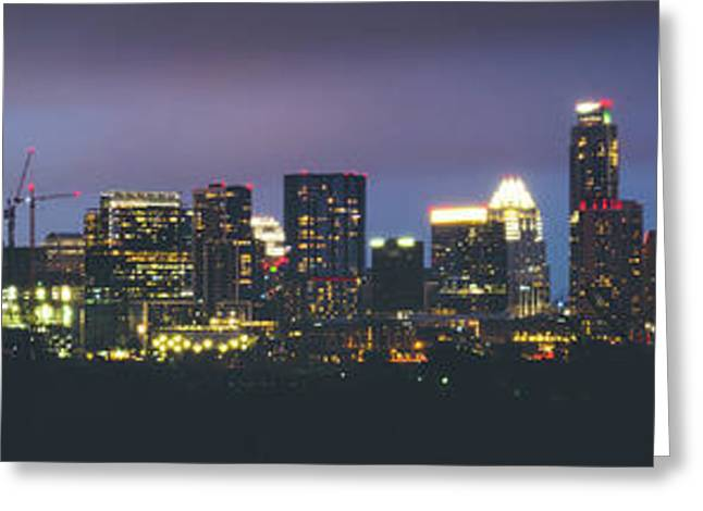 Night View Of Downtown Skyline In Winter Greeting Card