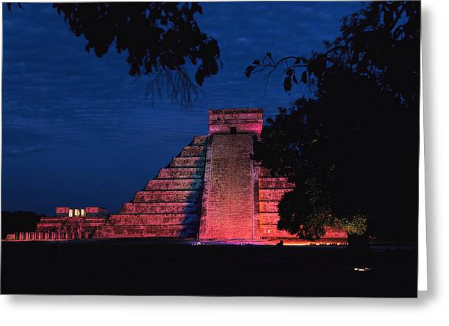 Pre Columbian Architecture And Art Greeting Cards - Night View Of El Castillo Greeting Card by Steve Winter