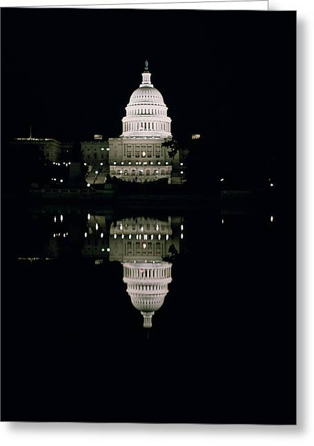 Reflecting Water Greeting Cards - Night View of the Capitol Greeting Card by American School