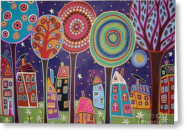 Night Village Greeting Card