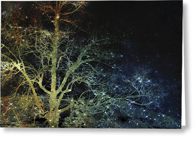 Night Vision I Lightning Bugs Greeting Card by Lesa Fine