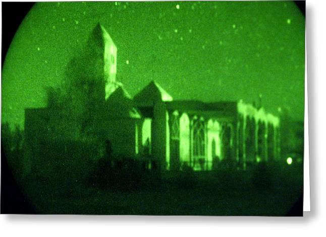 Night Vision Mosque Kandahar Greeting Card by Thomas Michael Corcoran