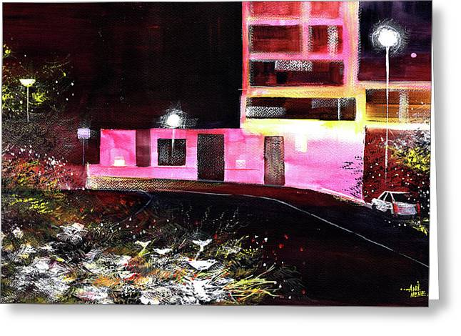 Greeting Card featuring the painting Night Walk by Anil Nene