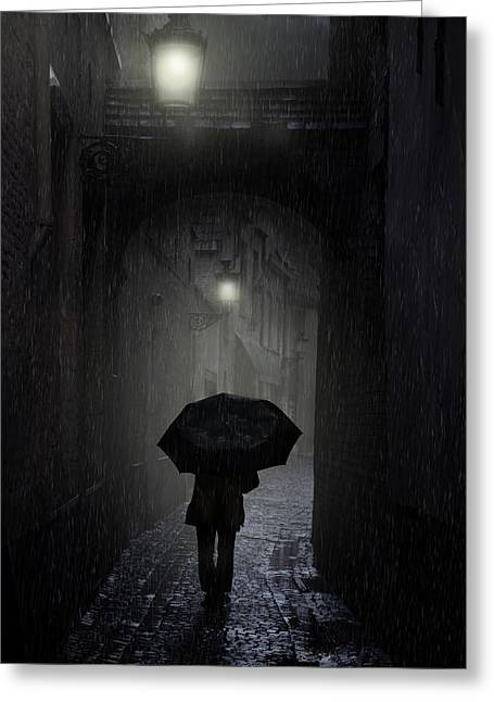 Night Walk In The Rain Greeting Card