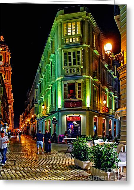 Night Walk - Malaga Spain Greeting Card by Mary Machare