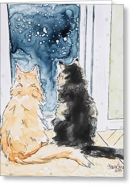 Night Watchers Greeting Card