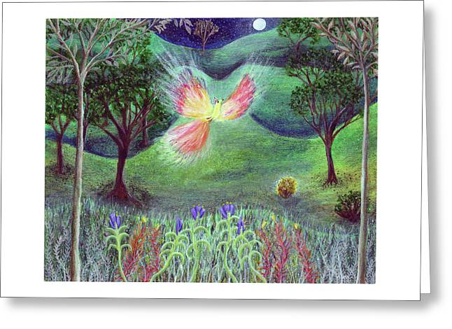 Night With Fire Bird And Sacred Bush Greeting Card