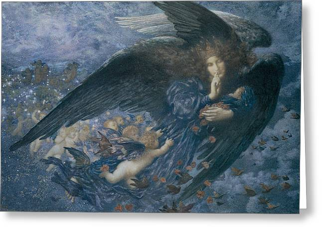 Angel With Star Greeting Cards - Night with her Train of Stars Greeting Card by Edward Robert Hughes