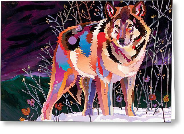 Night Wolf Greeting Card by Bob Coonts