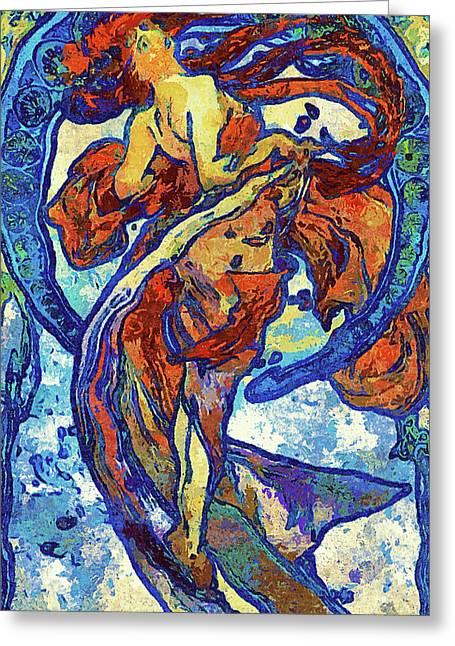 Night Woman Van Gogh Style Abstract Greeting Card