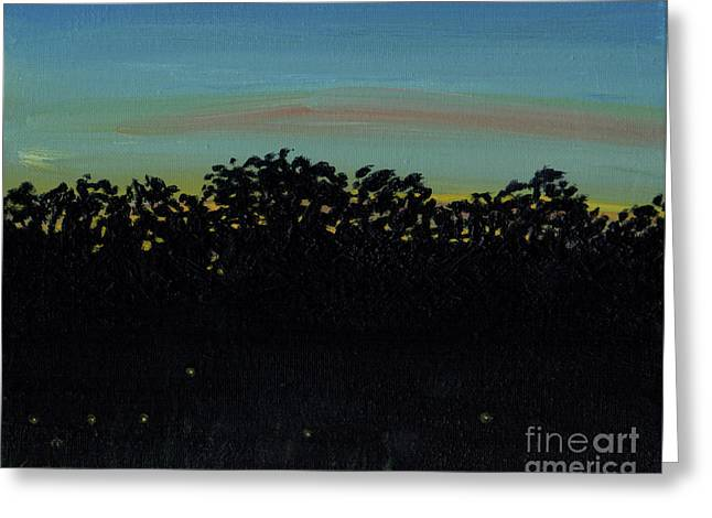 Night Wood Greeting Card by Robert Coppen