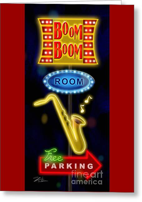 Nightclub Sign Boom Boom Room Greeting Card by Shari Warren