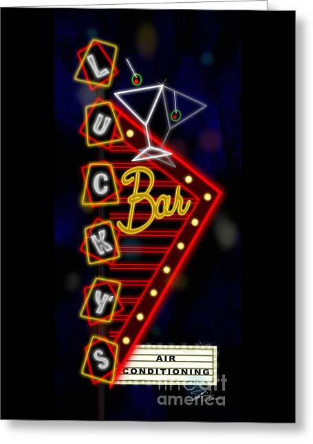 Nightclub Sign Luckys Bar Greeting Card by Shari Warren