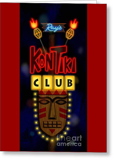 Nightclub Sign Rays Kon Tiki Club Greeting Card by Shari Warren